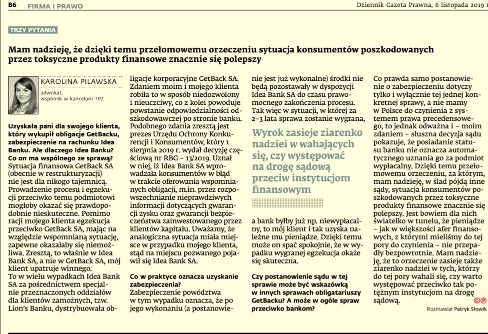 """Sprawa GetBack c.d. – wywiad z mec. Karoliną Pilawską w """"DGP"""""""